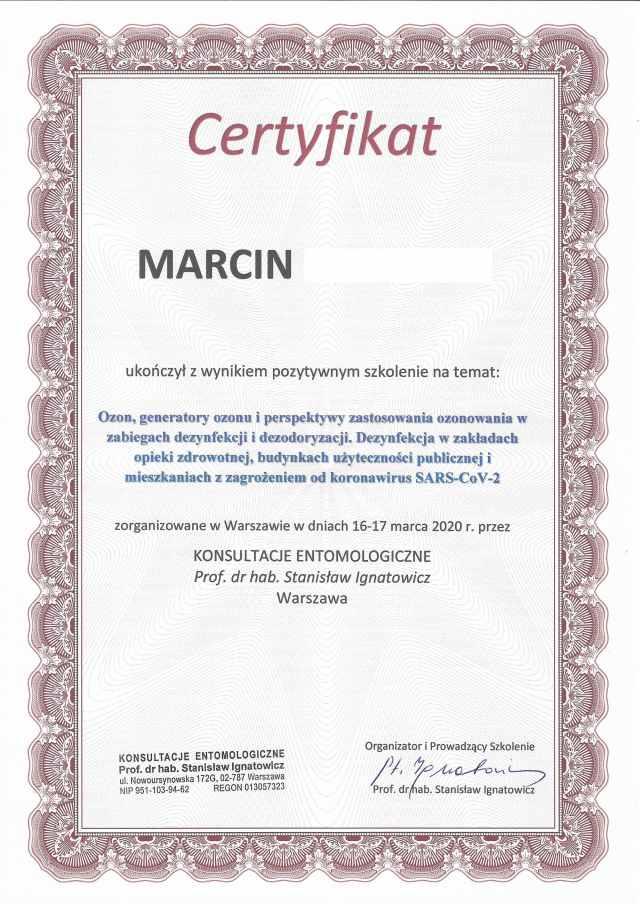 ozonowanie Łódź certyfikat wirusy bakterie